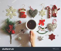 flat lay christmas decoration ornaments on stock photo 515406343