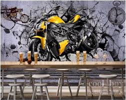 popular motorcycle wall murals buy cheap motorcycle wall murals 3d room wallpaper custom photo mural yellow motorcycle cool wall picture decor painting 3d wall mural