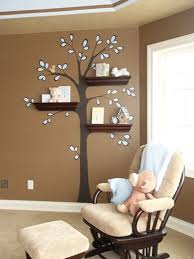 wood bookshelves design with tree branch