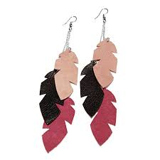 feather earings handcrafted big leather feather earrings rokrokinc upcycled jewelry