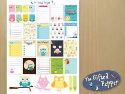 Owl Theme by Owls Sticker Kit Printable Cute Owl Theme Planner