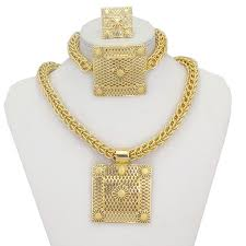 chunky necklace set images Chunky bridal gold plated jewellery set charmloop jpg