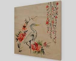asian crane print wood artwork wooden bird wall decor asian