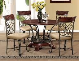 omari casual cherry bronze wood fabric metal 5pc dining room set