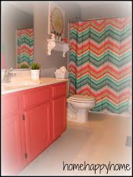 home happy home gray and coral kid teen bathroom paint and
