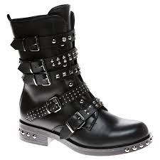 womens biker boot susanna womens low heel studded biker boots ladies strappy buckle