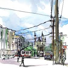 san francisco cole valley power lines urban watercolor sketch