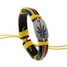 leather leaf bracelet images Reggae red yellow green cannabis leaf ring hip hop leather bracelet jpg