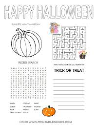 halloween 4 in1 activity sheet u2013 coloring maze word