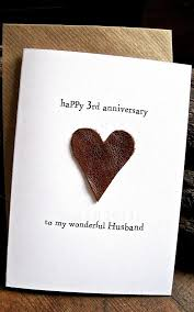 3rd wedding anniversary gifts 3rd wedding anniversary card husband traditional gift leather