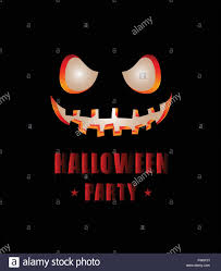 happy halloween party text design with face pumpkin on black stock