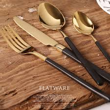 buy cutlery aliexpress com buy kubac 4pcs black gold cutlery set stainless