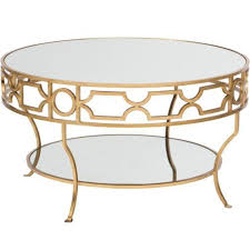 round gold glass coffee table gold detail trim mirrored top coffee table