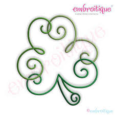 embroitique curly clover shamrock embroidery design small