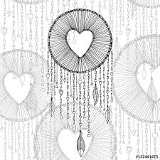 vector dream catcher with heart shape illustration and transparent