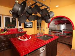 elegant red kitchen countertops with orange wall decoration 8856