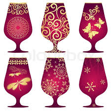 christmas glasses set of purple christmas glasses stock vector colourbox