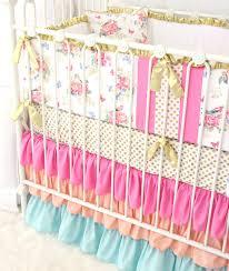 Pink And Teal Crib Bedding by Olivia U0027s Bright Boho Floral Crib Bedding Caden Lane