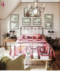 pink eclectic comforter and antique metal bed for vintage bedroom