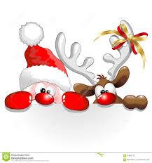 christmas santa and reindeer fun cartoon stock vector image