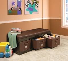 new kids brown storage bench toy box bedroom toys play room 3 bins