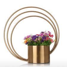 best and cheap golden round flower pot metal ornament cylinder