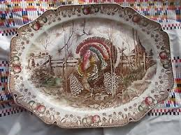 vintage his majesty turkey thanksgiving serving platter tray johnson