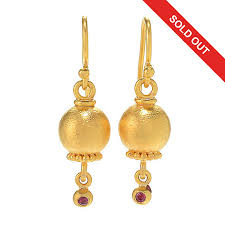 ruby drop earrings cevherun 24k gold pomegranate 1 25 ruby drop earrings
