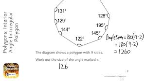 How To Calculate Interior Angles Of An Irregular Polygon Polygons Interior Angle In Irregular Polygon Grade 3 Onmaths
