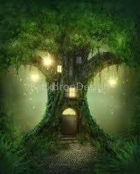Forest Backdrop Enchanted Forest Backdrop Lantern Fairy Tale Green Tree House