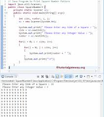java pattern programs for class 10 java program to print square number pattern