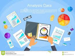 M El Schreibtisch Finanzdiagramm Dokumentiert Schreibtisch Analyse Vektor Abbildung