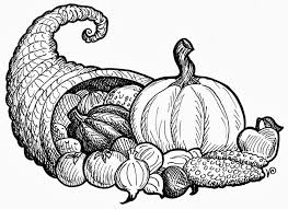 thanksgiving cornucopia clipart black and white clipartxtras