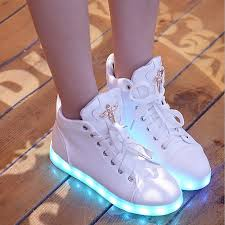 high top light up shoes new glowing casual shoes high top light up female shoes women white