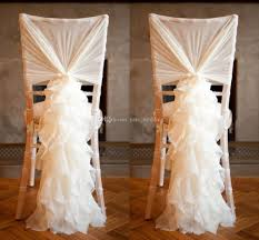 cheap sashes for chairs 2018 ruffled wedding chair sashes chiffon flowy ruffle