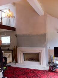 false chimney breast built using specialist fire board and plaster