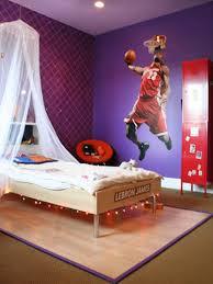 chambre basketball une toile tendue avec un joueur de basket grandeur nature un