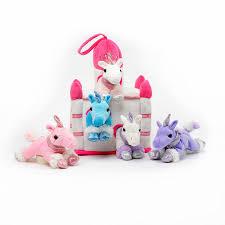 amazon com plush unicorn castle with animals five 5 stuffed