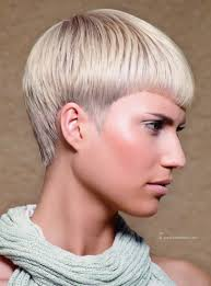 beautiful women hairstyle with sideburns short haircut with pointy sideburns and blonde with silver coloring