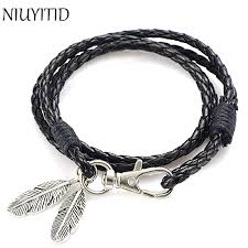 bracelet silver leather images Niuyitid black pu leather men bracelet silver feather accessories jpg