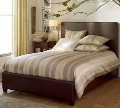 jameson leather bed u0026 headboard pottery barn