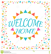 welcome home text with colorful design elements cute postcard