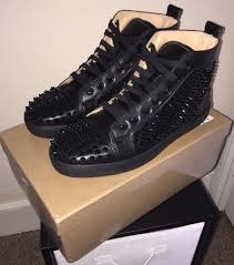 christian louboutin shoes black with spikes in aston west