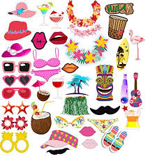 photo booth supplies fy luau hawaiian themed party photo booth props kit summer