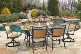 carmadelia outdoor dining set w swivel chairs outdoor dining