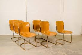 Italian Leather Dining Chair Mid Century Leather Brass Dining Chairs By Willy Rizzo For Cidue