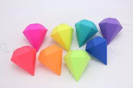 geometric paper gem ornaments paper diamonds neon bright