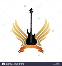 musical illustration with silhouettes of guitar wings rock
