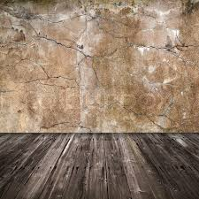 grunge interior background with concrete wall and wooden floor