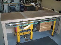 table saw workbench plans double duty tablesaw workbench by sike lumberjocks com
